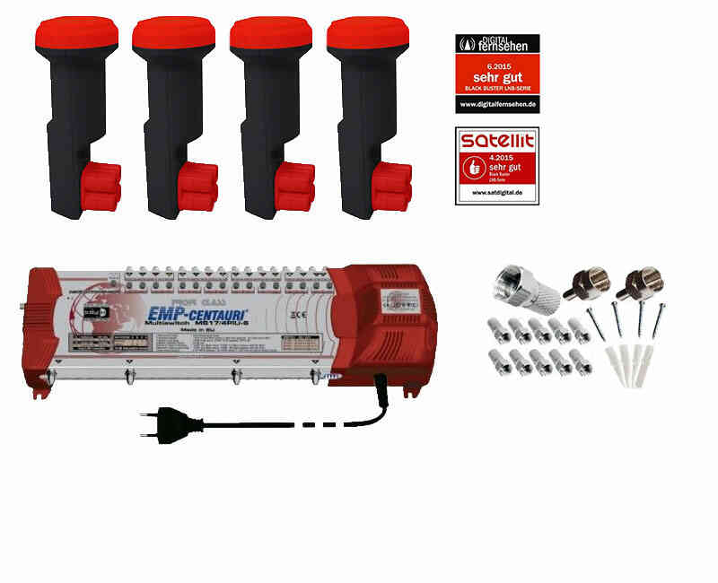 Profi-Line Multischalter Set MS 17 mit 4x Red Eagle Quattro LNB
