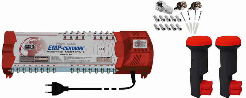 Profi-Line Multischalter MS 9 mit 2x Red Eagle Quattro LNB TN12/PIU6