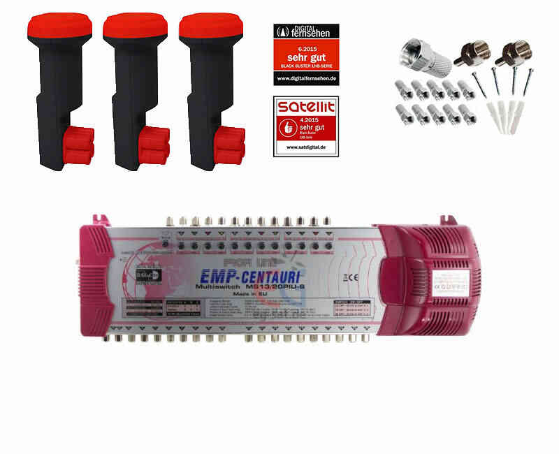 Profi-Line Multischalter Set MS13 mit 3x Red Eagle Quattro LNB